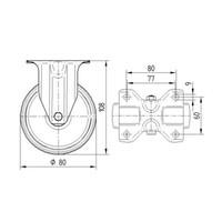 Bokwiel rubber 80 3KA plaat