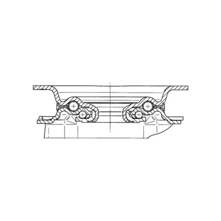 Zwenkwiel RVS 80 nylon NO plaat
