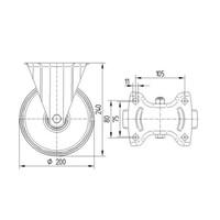 Bokwiel RVS 200 nylon NOC blauw plaatbevestiging