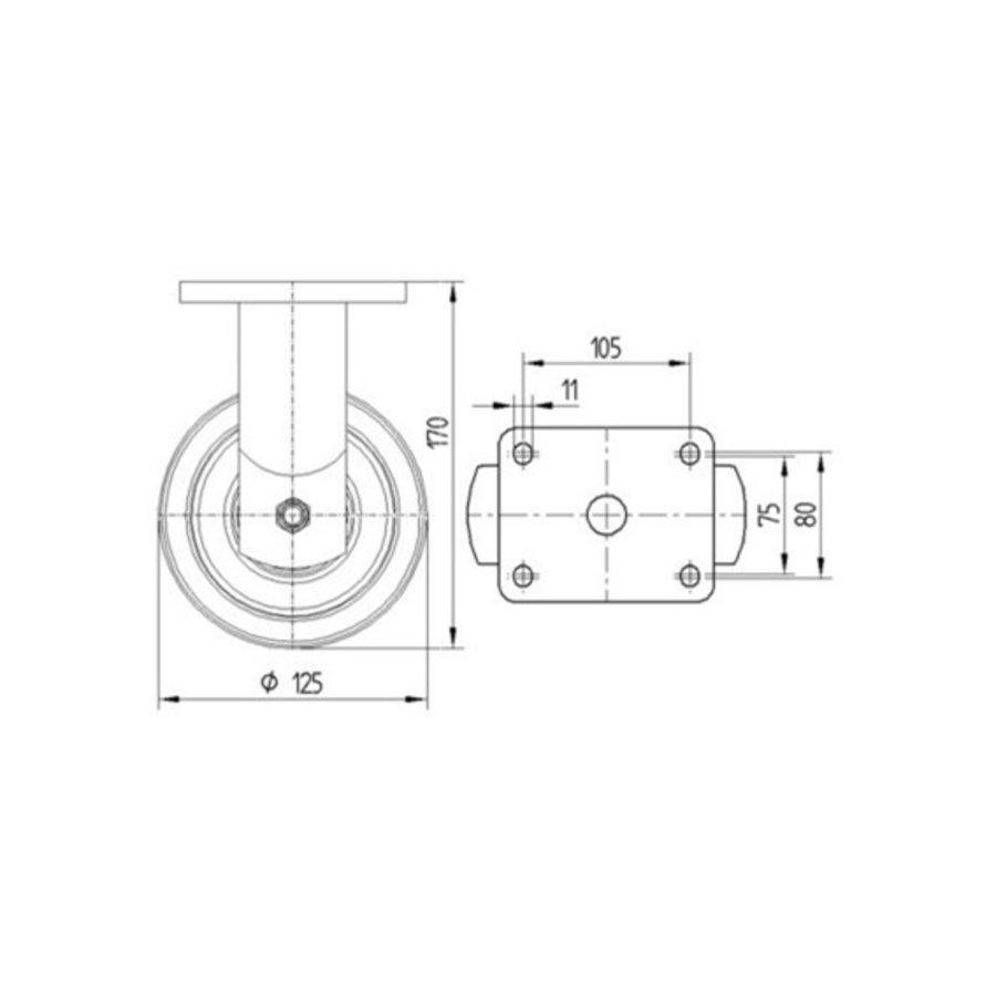 Bokwiel nylon Xtreme 125 6NO plaat