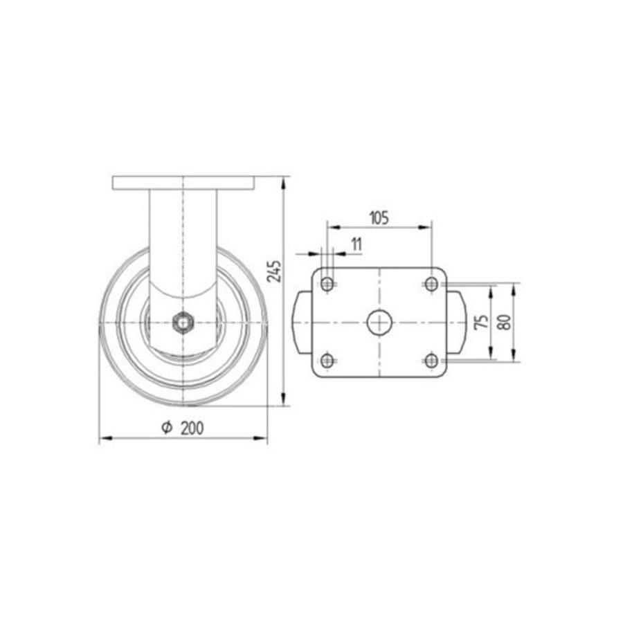 Bokwiel nylon Xtreme 200 6NO plaat