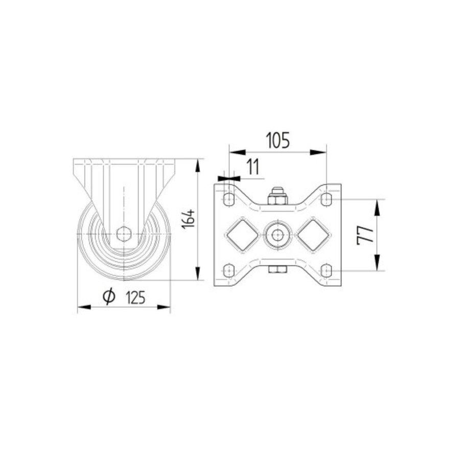 Bokwiel RVS nylon 125 8NO plaat