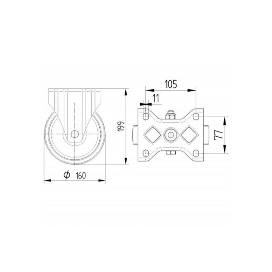 Bokwiel RVS nylon 160 8NO plaat