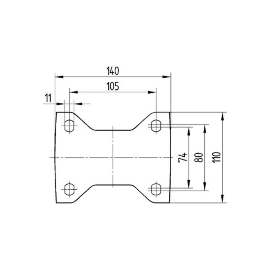 Bokwiel RVS 125 8NOP plaat