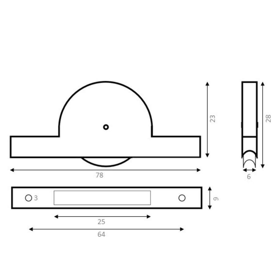 Groefwiel polyamide 25mm smal