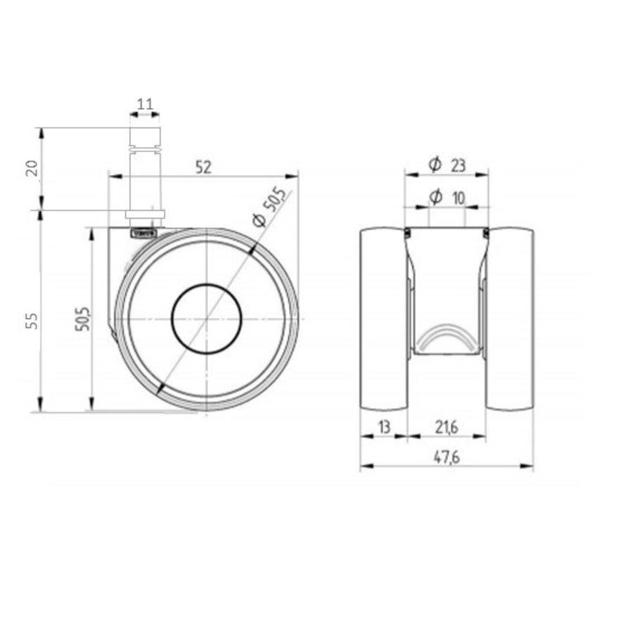 PAPU LOW wiel 50mm stift 11mm