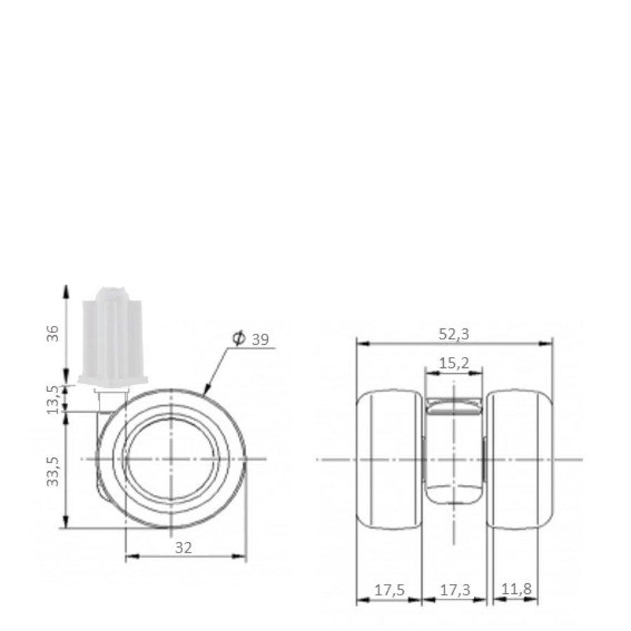 PATPLOW limited black softwiel 39mm plug vierkant 18mm