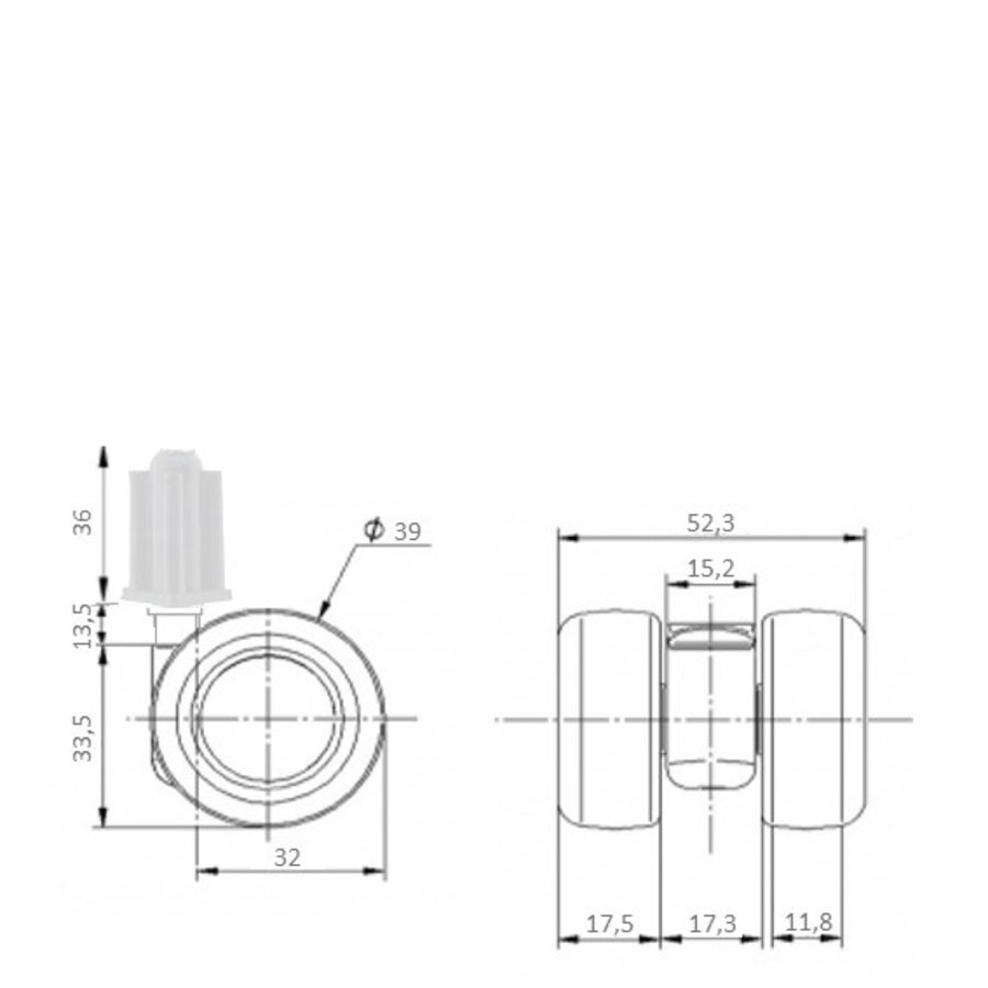 PATPLOW limited black softwiel 39mm plug vierkant 16mm