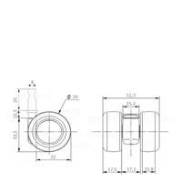 PATPLOW limited black softwiel 39mm stift 8mm