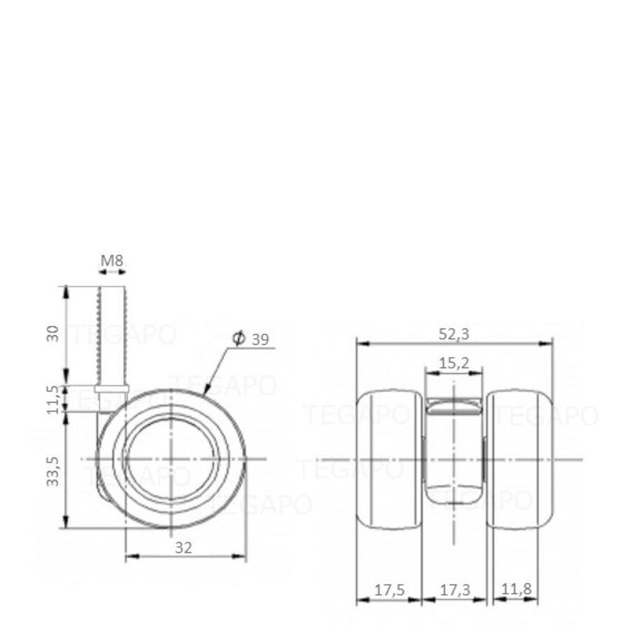 PATPLOW limited black softwiel 39mm bout M8x30