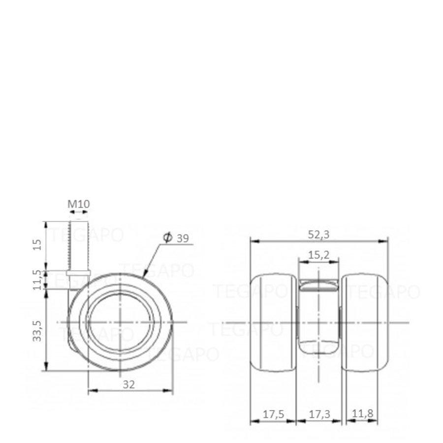 PATPLOW limited black softwiel 39mm bout M10x15