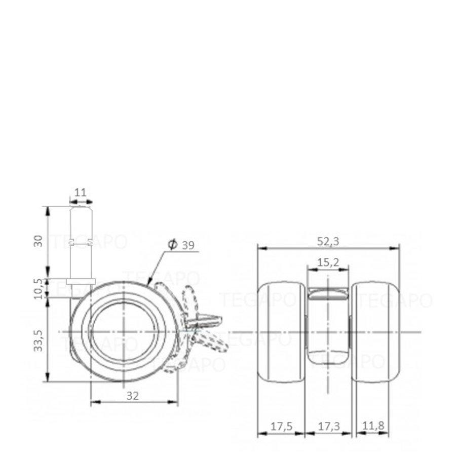 PATPLOW limited black softwiel 39mm stift 11x30mm met rem