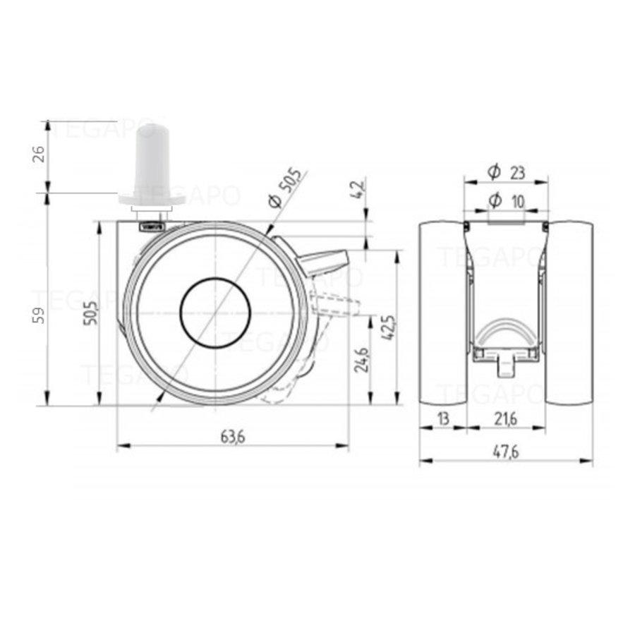 PAPU LOW wiel 50mm plug rond kunststof 13mm met rem