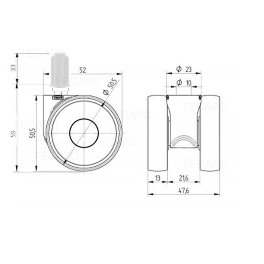 PAPU LOW wiel 50mm plug rond 23mm