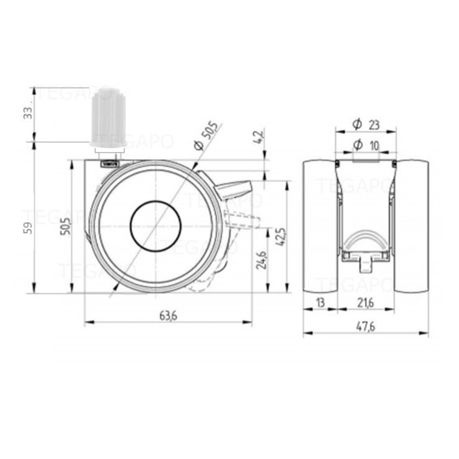 PAPU LOW wiel 50mm plug rond 18mm met rem