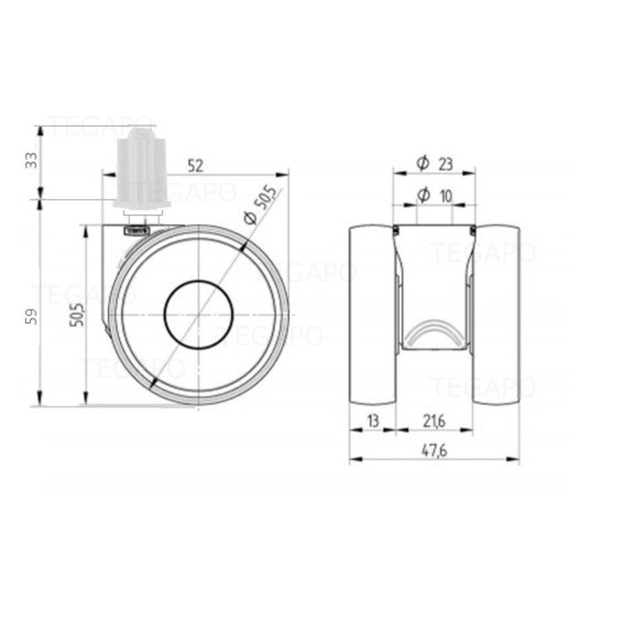 PAPU LOW wiel 50mm plug vierkant 16mm