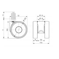 PAPU LOW wiel 50mm plug vierkant 21mm