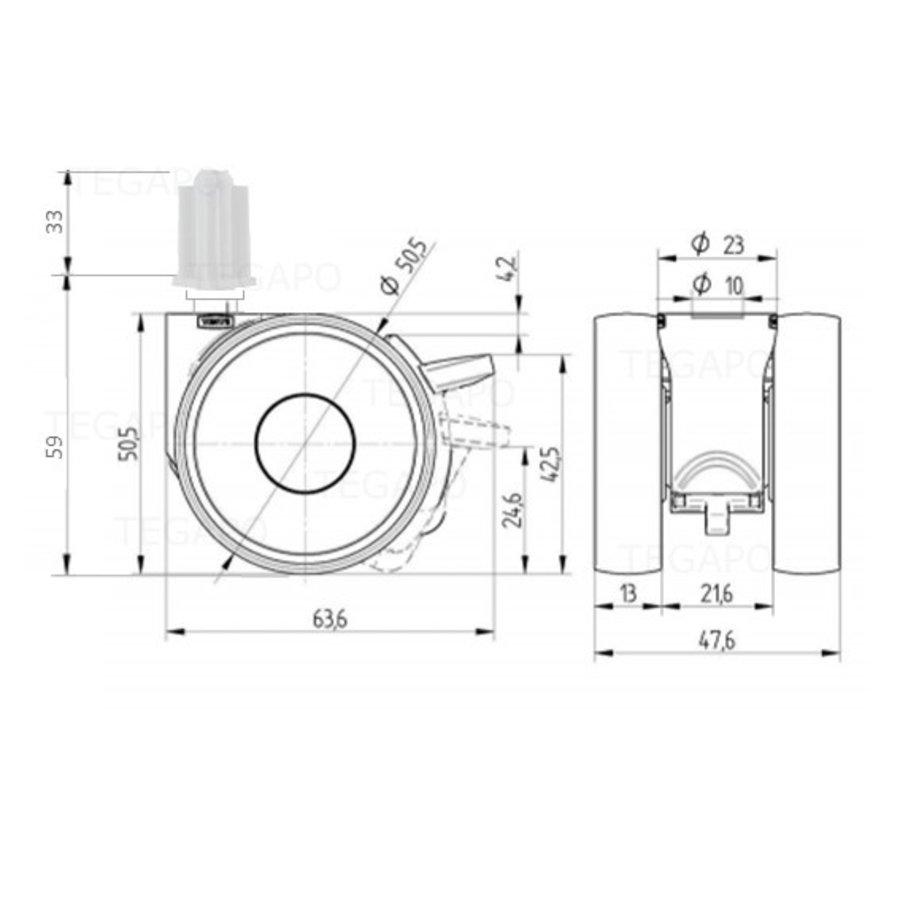 PAPU LOW wiel 50mm plug vierkant 21mm met rem