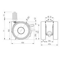 PAPU LOW wiel 50mm plug vierkant 22mm met rem