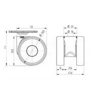 PAPU LOW wiel 50mm plaat 42x42mm