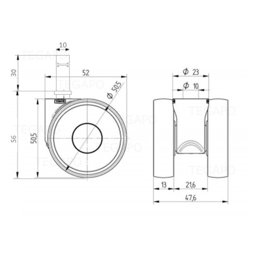PAPU LOW wiel 50mm stift 10mm (30)