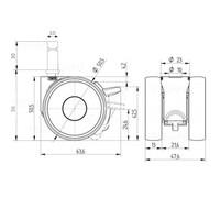 PAPU LOW wiel 50mm stift 10mm (30) met rem