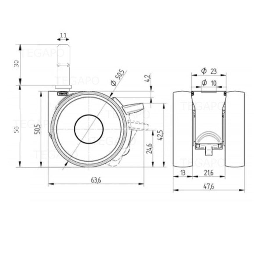 PAPU LOW wiel 50mm stift 11mm (30) met rem