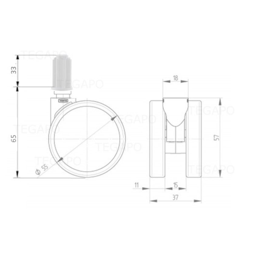 PPPU wiel 50mm plug rond 14mm