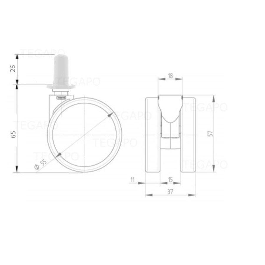 PPPU wiel 50mm plug rond kunststof 13mm
