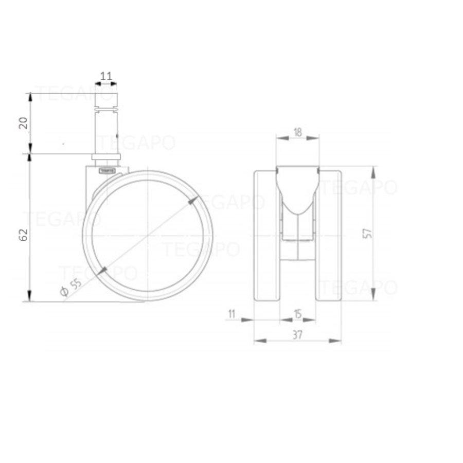 PPPU wiel 50mm stift 11mm
