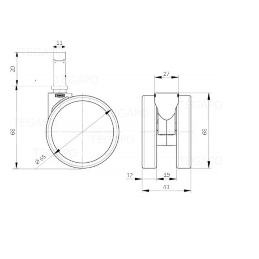 PAROL wiel 65mm krans 27mm stift 11mm