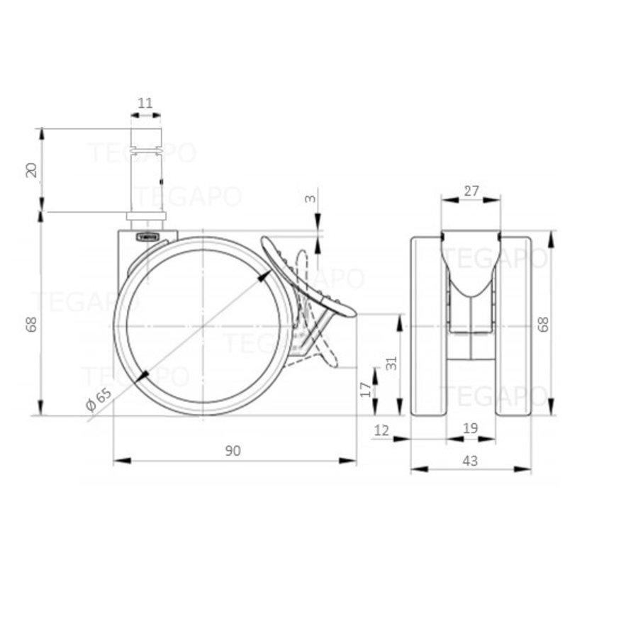 PAROL wiel 65mm krans 27mm met rem stift 11mm