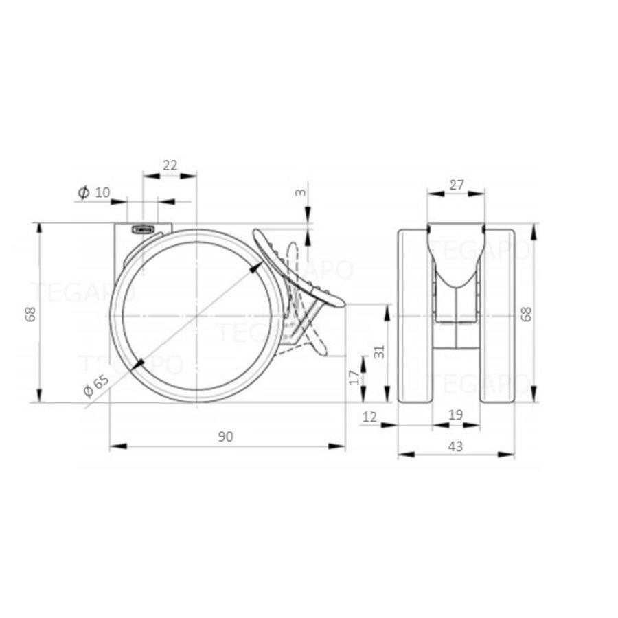 PATPROL wiel 65mm krans 27mm met rem
