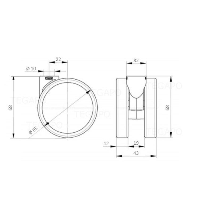 PAROL wiel 65mm krans 32mm