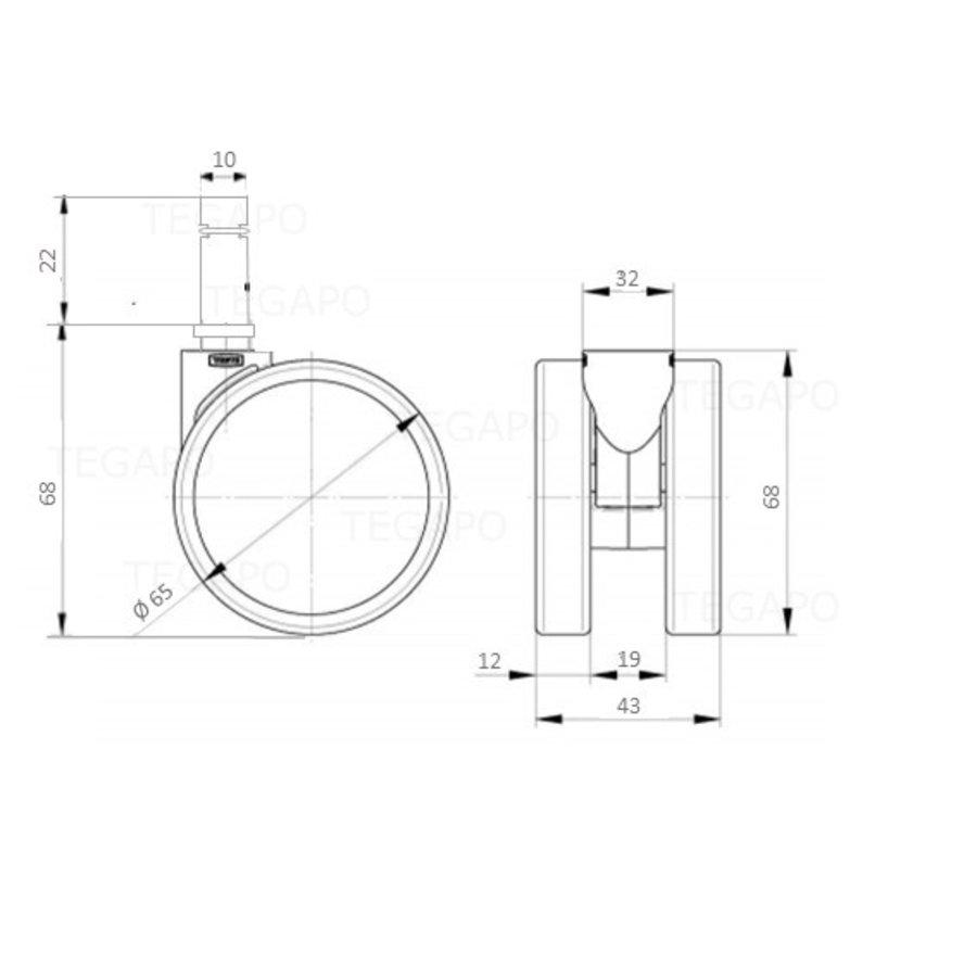 PAROL wiel 65mm krans 32mm met rem stift 10mm