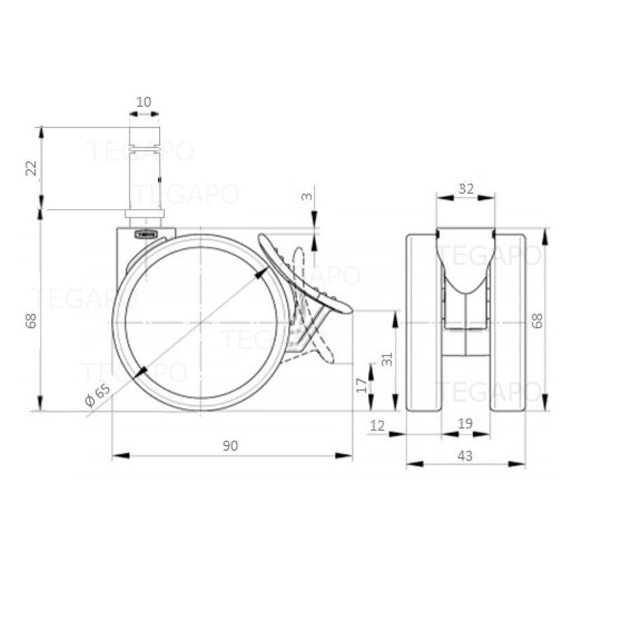 PATPROL wiel 65mm krans 32mm met rem stift 10mm