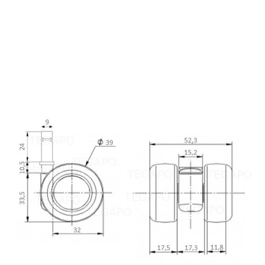 PATPLOW wiel 39mm stift 9mm