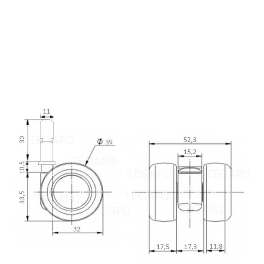 PATPLOW wiel 39mm stift 11x30mm