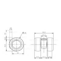 PATPLOW wiel 39mm stift 10mm