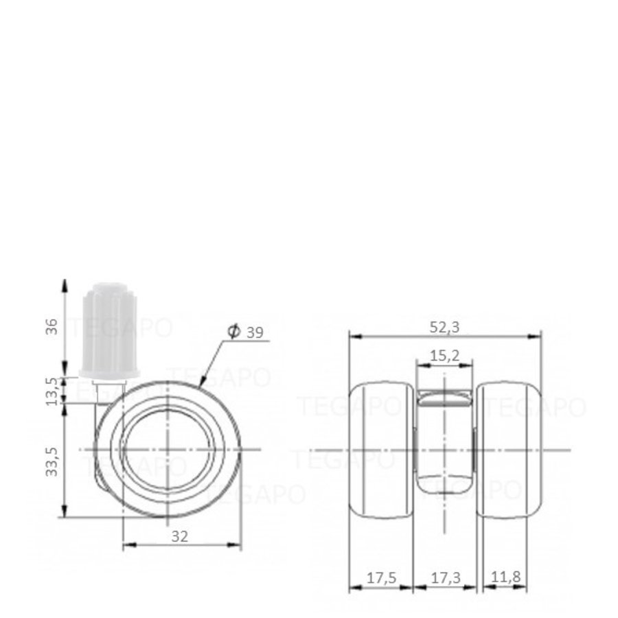 PATPLOW wiel 39mm plug 17mm