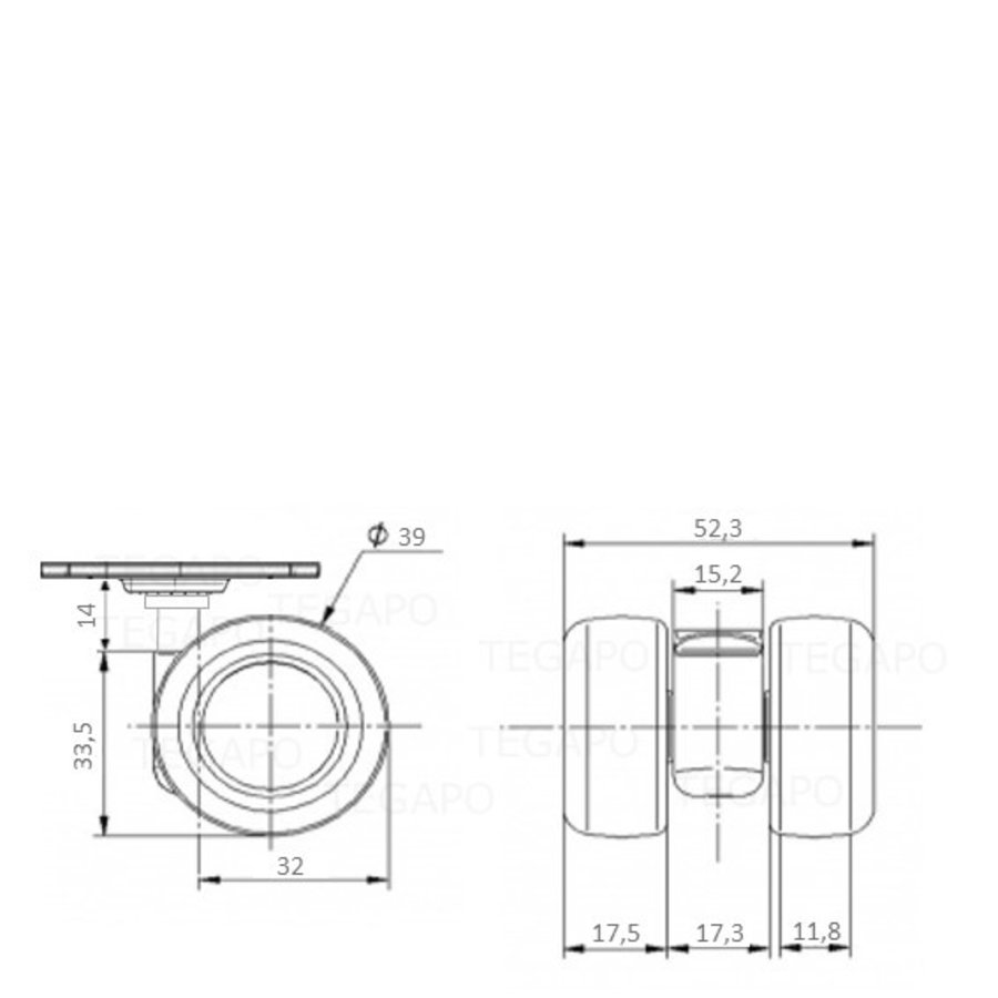 PATPLOW wiel 39mm plaat 42x42mm