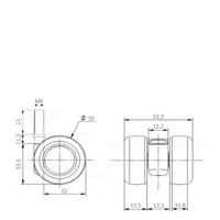 PATPLOW wiel 39mm bout M8x15