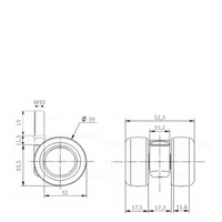 PATPLOW wiel 39mm bout M10x15