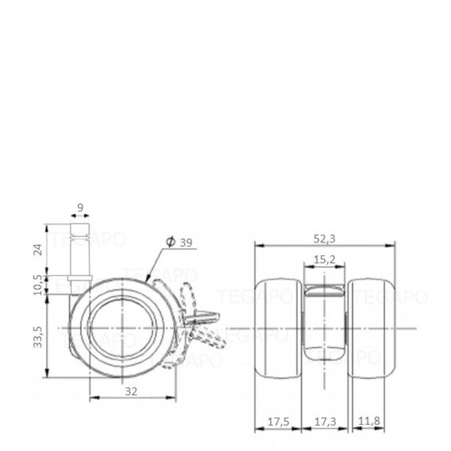 PATPLOW wiel 39mm stift 9mm met rem