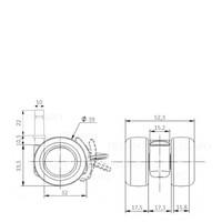 PATPLOW wiel 39mm stift 10mm met rem