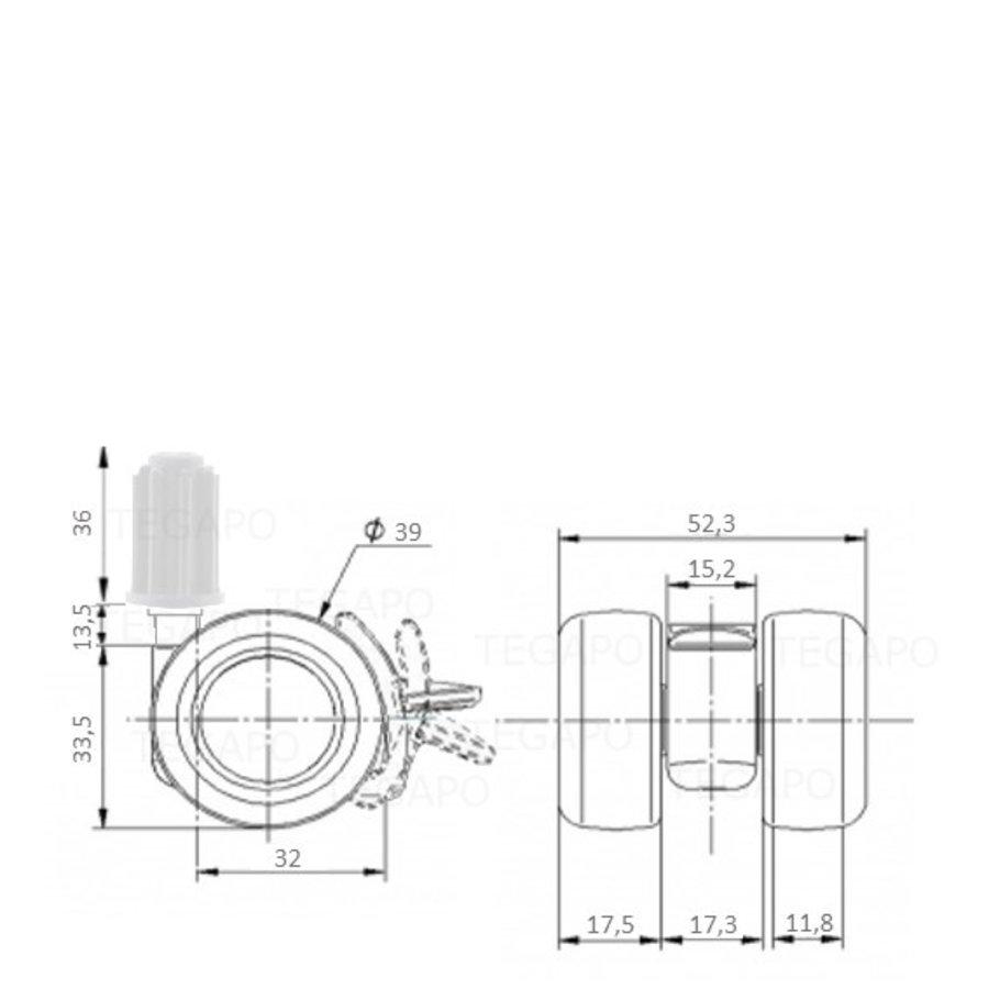 PATPLOW wiel 39mm plug 22mm met rem