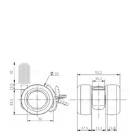 PATPLOW wiel 39mm plug 20mm met rem