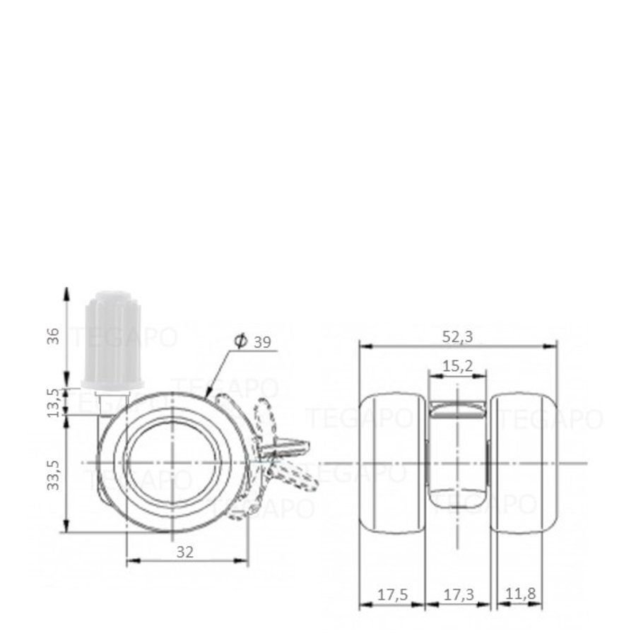 PATPLOW wiel 39mm plug 19mm met rem