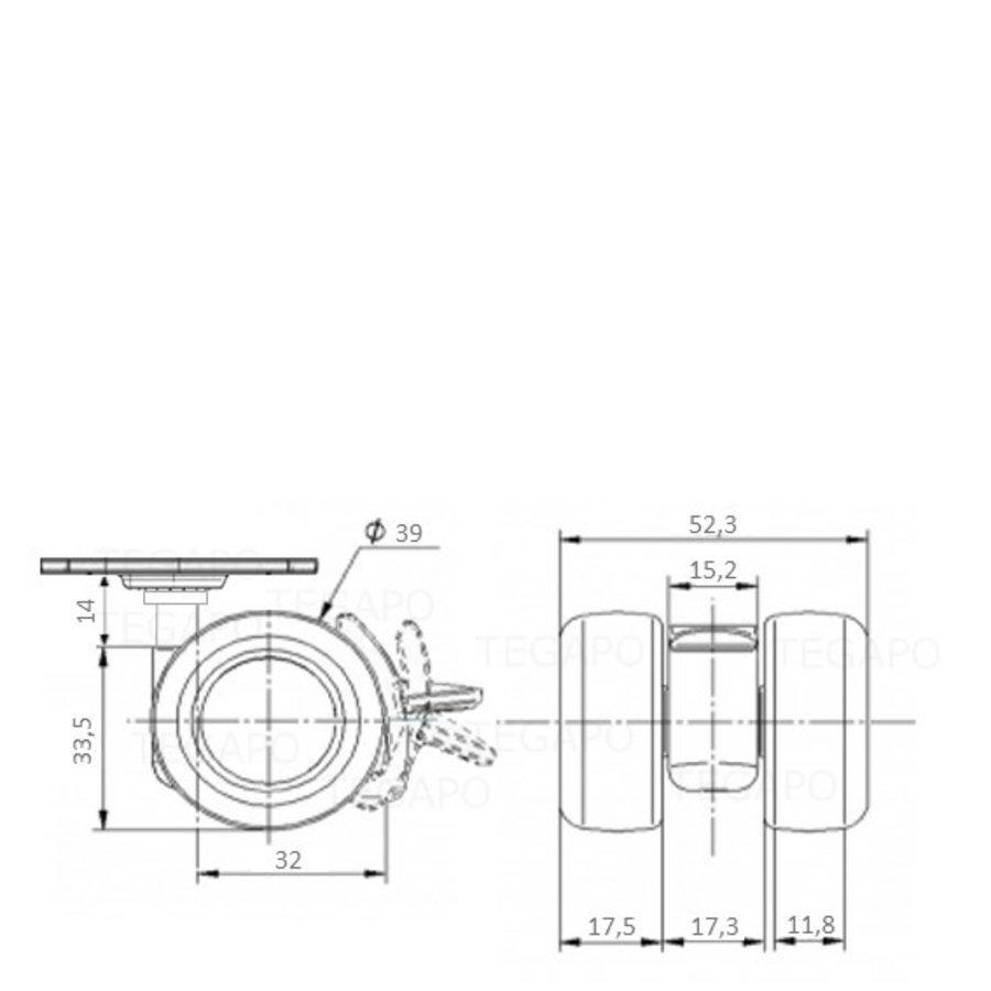 PATPLOW wiel 39mm plaat 38x38mm met rem