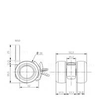 PATPLOW wiel 39mm bout M10x25 met rem